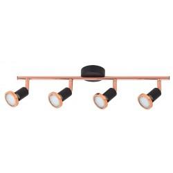 Lampa spot cu patru elemente LED metal negru mat/cupru VALENTINE 6849