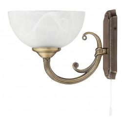 LAMPA DE PERETE CLASICA BRONZ CU ABAJUR DIN GEAM ALABASTRU ALB MARLENE 8541 RABALUX