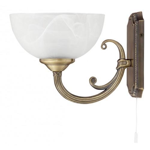 LAMPA DE PERETE CLASICA BRONZ CU ABAJUR DIN GEAM ALABASTRU ALB MARLENE 8541