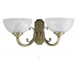 LAMPA DE PERETE CLASICA BRONZ CU ABAJUR DIN GEAM ALABASTRU ALB MARLENE 8542