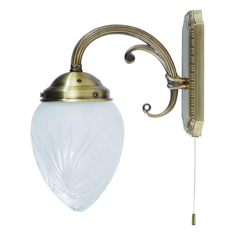 LAMPA DE PERETE CLASICA BRONZ CU ABAJUR DIN STICLA ANNABELLA 8631
