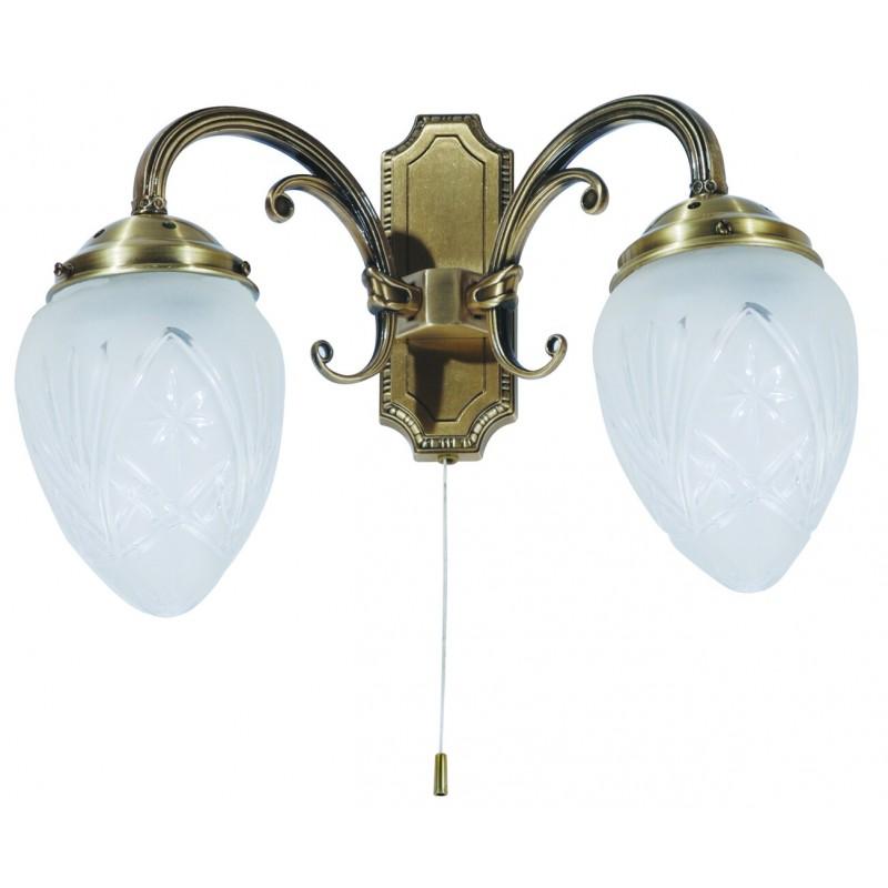 LAMPA DE PERETE DUBLA CLASICA BRONZ CU ABAJUR DIN STICLA ANNABELLA 8632