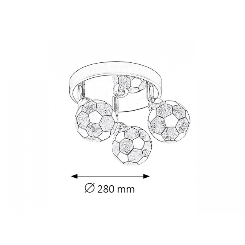 Plafoniera Frankie cu structura metalica cromata si abajur din sticla 4473 Rabalux
