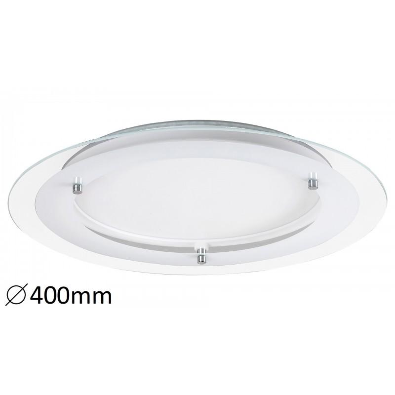 Lampa rotundă din metal alb si sticla LORNA 3487 Rabalux