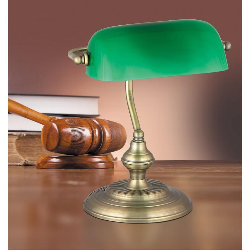 Lampa de birou Bank cu structura metalica si abajur din sticla 4038 Rabalux