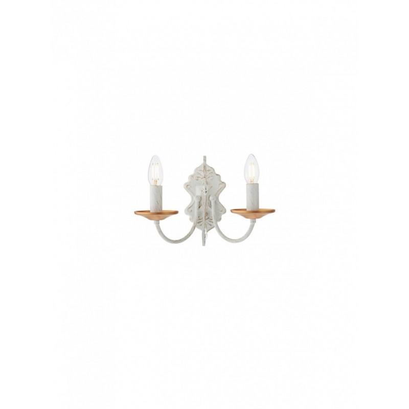 Aplica Blanca 02-957, 2 x E14, ivoar + auriu, decoratiune cristal transparent