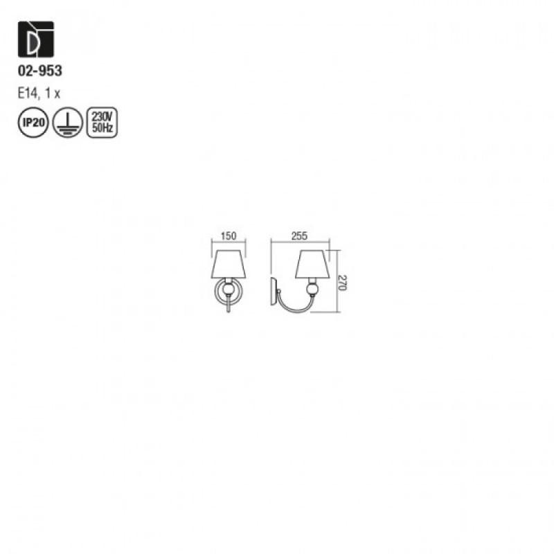 Aplica Gwen 02-953, 1 x E14, crom + negru