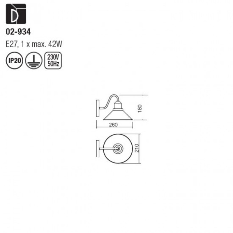 Aplica Verner 02-934, 1 x E27, maro mat