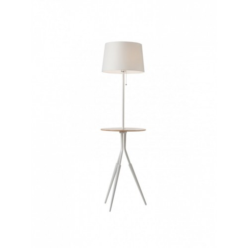 Lampadar Glenn BG 01-1468, 1 x E27, 1530 mm, alb + lemn nuc
