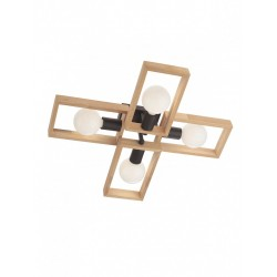 Plafoniera Timber 01-1969, 4 x E27, negru mat + lemn de fag natur