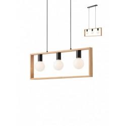 Suspensie Timber 01-1665, 3 x E27, negru mat si lemn de fag natur
