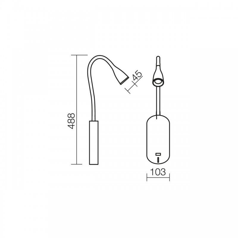 Aplica moderna cu LED Wiggle 01-1098 Smarter, neagra