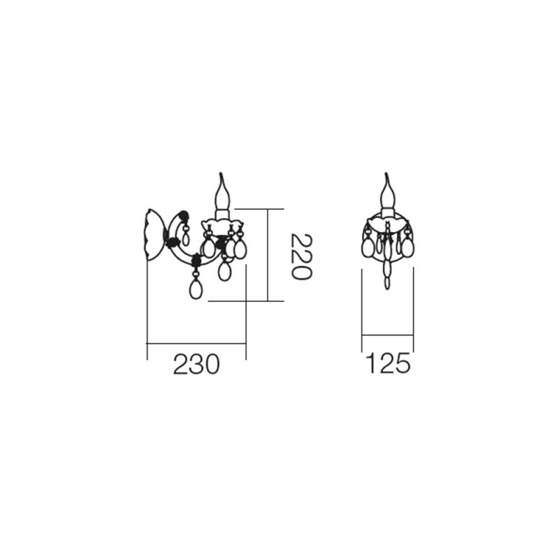 Aplică Bolero pentru interior, structură din metal cromat și acrilat negru. 06-001 Smarter