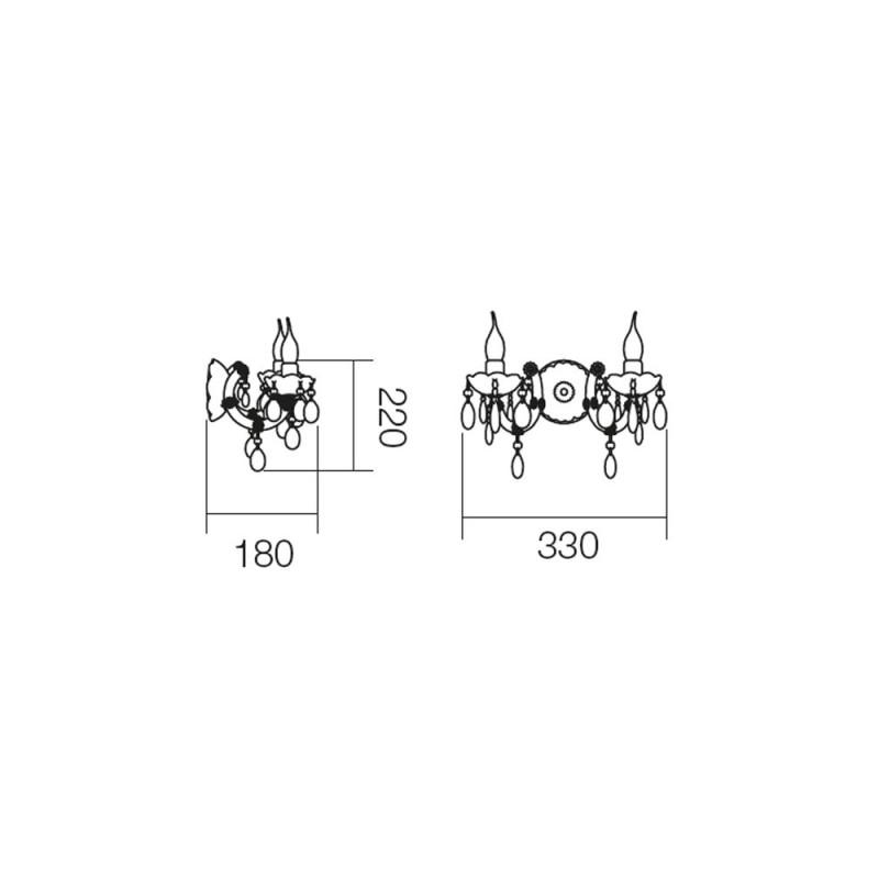 Aplică Bolero pentru interior, structură din metal cromat și acrilat transparent. 06-005 Smarter