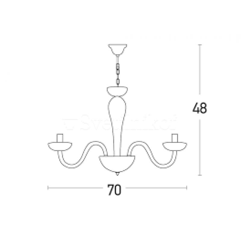Candelabru  clasic  cu structura din sticla 17113 Zambelis