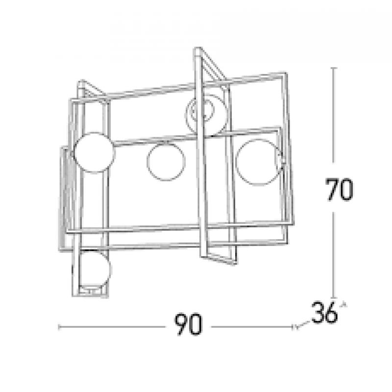 Lustra moderna cu structura din metal si abajur din sticla 17100 Zambelis